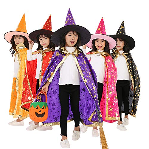 PartySanthe Children Halloween Costumes Wizard Witch Cloak Cape Robe with Pointy Hat Girls Boys Cosplay Props Kids Birthday Party Supplies Any one (Assorted)