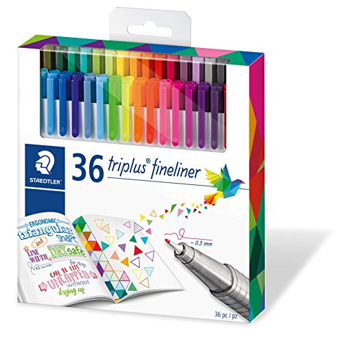 Staedtler Color Pen Set, Set of 36 Assorted Colors (Triplus Fineliner Pens)