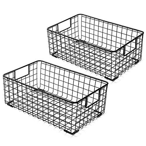 Kingrol Paquete de 2 cestas de almacenamiento de alambre con asas, organizador de metal para el hogar, oficina, guardería, estantes de lavandería