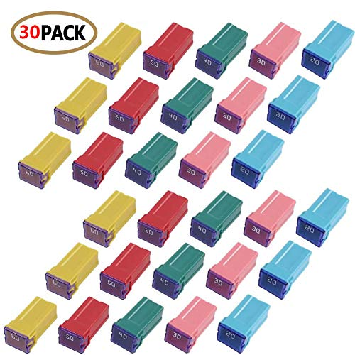 30 pc Automotive TALL/STANDARD PROFILE JCASE Box Shaped Fuse Kit for Ford, Chevy/GM, Nissan, and Toyota Pickup Trucks, Cars and SUVs