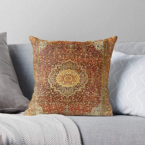 BONRI Orientalischer persischer Vintage Blumenteppich Khorasan Teppich Moderner dekorativer & Leichter Kissenbezug aus weichem Polyester für Schlafzimmer/Wohnzimmer/Sofastuhl & Auto,16x16Zoll