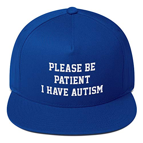 Hogue WS LLC Please Be Patient I Have Autism Hat - for Autistic Children (Flat Bill Cap) Royal Blue