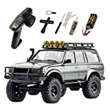 RocHobby 1/18 Scale Toyota Land Cruiser 80 RC Crawler, 2.4Ghz 4WD Off-Road Waterproof RC Car Vehicle Models RTR, All Terrains Hobby Electric Toys for Adults Boys Kids (Gray)