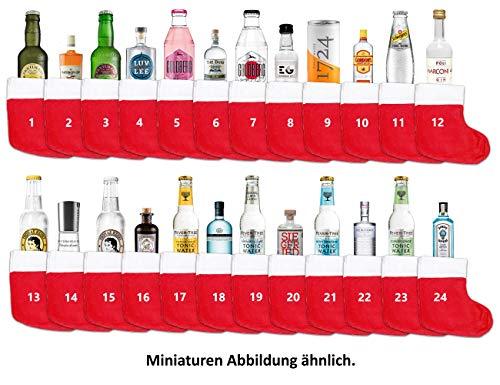 Mixcompany Gin Tonic Adventskalender - 12x Verschiedene Gin Sorten + 12x Verschiedene Tonic Sorten + Socken zum aufhängen - Inkl. Pfand MEHRWEG