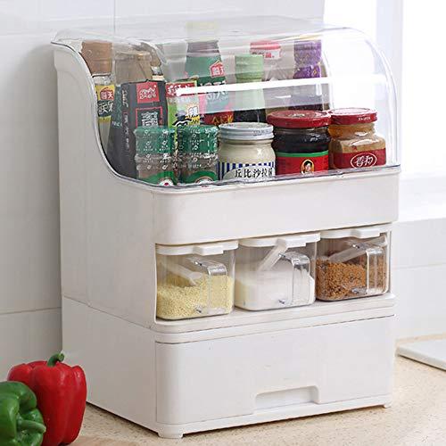 GRX-ZNLJT Kruidenrek met 3 etages, met grote capaciteit, voor schuiflade, keukenorganisator, polypropyleen milieuvriendelijke materialen, voor het kruiden van potten, keukenorganisator voor flessen en blikjes