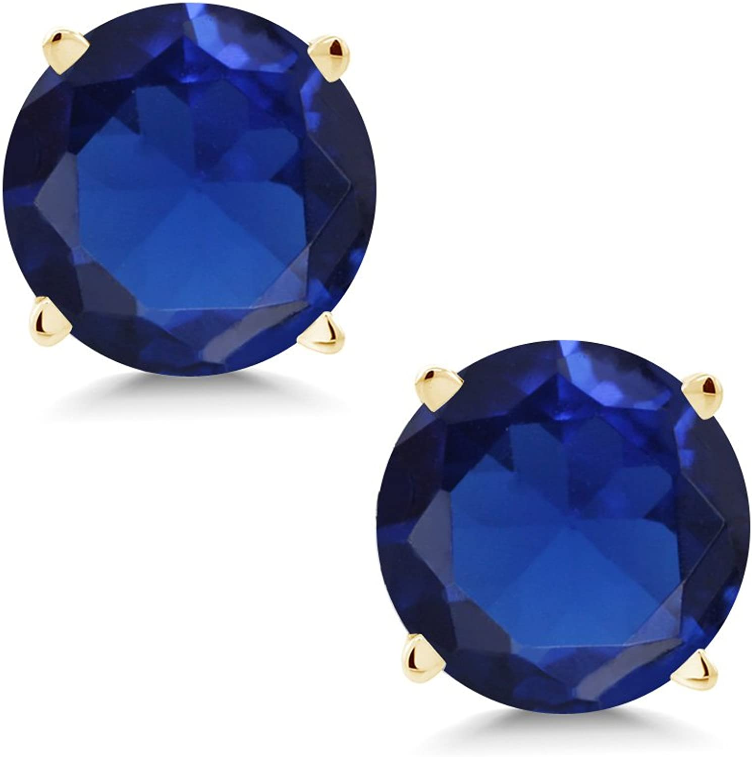 1.50 Ct Round 6mm bluee Simulated Sapphire 14K Yellow gold Stud Earrings