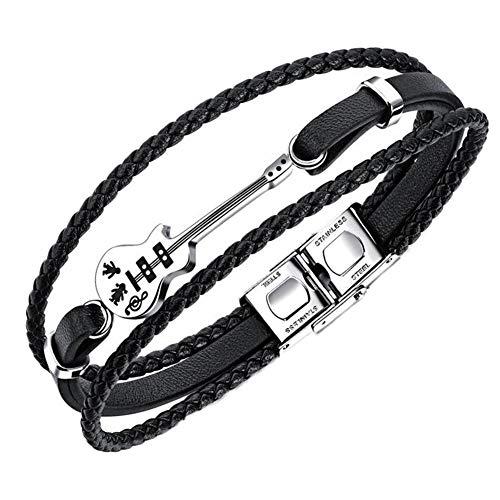 Ruluti Gitarren-Armband Schwarz Triple-Woven-Leder-armbänder Musiklehrer Für Musik-Liebhaber-Geschenke Schmuck Herren-Accessoires