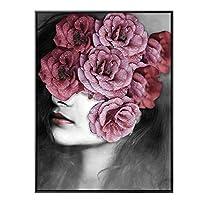 写真アートデコ 現代的ファッション女性のポートレート 大きな花 ブラックキャンバスプリント 写真絵画 壁絵画 防水 モダンな室内装飾 45x60cm レッド 456-191-298