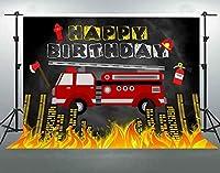 誕生日パーティーのためのHD消防車の背景10x7ftソフトコットン消防車消防車消防士写真の背景子供Bdayパーティーの装飾用品写真ブース小道具LHFS1188