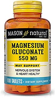 Mason Natural, Magnesium Gluconate 550 Mg Tablets, 100-Count Bottles (Pack of 3), Dietary Supplement Supports Muscle Regul...