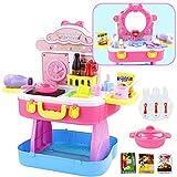 Nuheby 3 In 1 Kinderküche Schminktisch Kinder und Koffer mit Licht Sound Rollenspiel Spielküche Pädagogisches Spielzeug ab 3 4 5 6 Jahren Junge Mädchen (53 Stück)