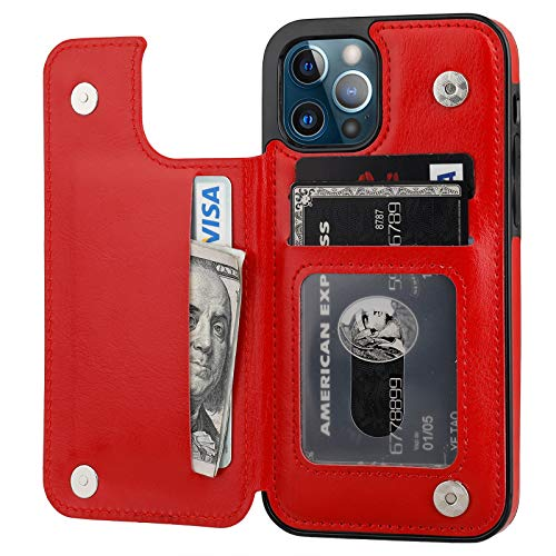 ONETOP Compatible with iPhone 12 Compatible with iPhone 12 Pro Wallet Case with Card Holder, PU Leather Kickstand Card Slots Case, Double Magnetic Clasp Durable Shockproof Cover 6.1 Inch(Red)