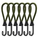 6 Spanngummi mit Haken Stück Zelt Elastic Rope Schnallenhaken Spiralhaken, Expanderhaken für Planen und Netze