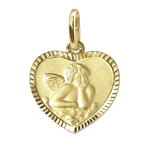 CLEVER SCHMUCK Goldener Kleiner Damen Anhänger mit Engel 11 x 10 mm matt und Rückseite Gott schütze Dich mit Blumendekor Herz mit schmalen Rand diamantiert glänzend 333 Gold 8 Karat