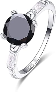 925 Sterling Silver Created Rainbow Topaz Filled Round Cut Thin Solitaire Engagement Ring for Women 0250R2-9