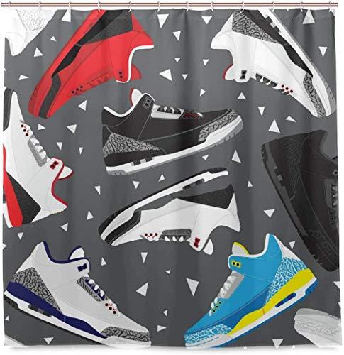 Zapatillas de Baloncesto Retro Zapatillas de Deporte Cortina de Ducha Tejido de poliéster Impermeable Baño Curtian Decoración de baño - Blanco 8