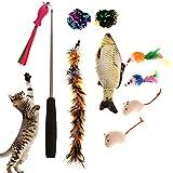 Wuudi 11 piezas Juguete Pluma de Gato Interactivo, Varita de plumas, Retráctil, Piezas reemplazables, Ratones simulados, Juguetes Pez para Gatos, Suministros para Gatos