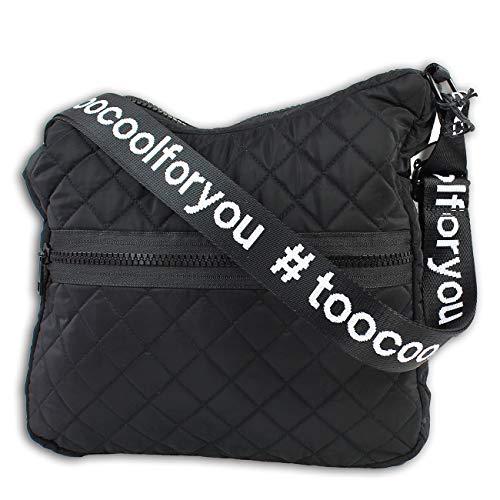 New Bags Umhängetasche schwarz gesteppt Polyester Schultertasche too cool for you Bellevory Sport inkl. Feeanhänger OTD2211S Polyester Schultertasche