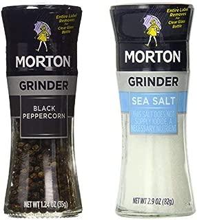 Morton Grinder, 1.24-Ounce Black Pepper, 2.9-Ounce Sea Salt, (Pack of 6)