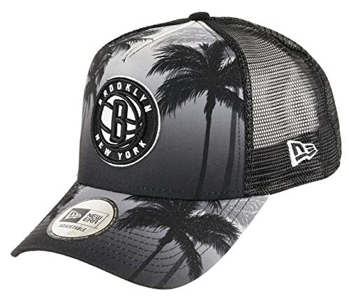 New Era Brooklyn Nets A Frame Adjustable Trucker Cap NBA Palm Tree Grey/Black - One-Size