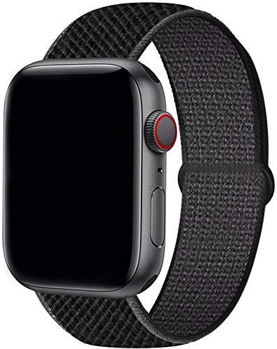Tervoka Compatible pour Apple Watch Bracelet 44mm 42mm, Sport Nylon Tissé Bracelet de Remplacement pour iWatch Séries 6/5/4/3/2/1 Se, Noir