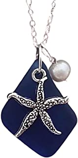 "product image for Handmade in Hawaii, cobalt sea glass necklace, starfish charm, Freshwater pearl,""September Birthstone"",(Hawaii Gift Wrapped, Customizable Gift Message)"