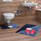 Relaxdays–Lote de 2Alfombra de baño con diseño gráficas Alfombra de Ducha y Alfombra WC 80x 50cm Cuarto de baño Alfombra Lavable, Azul