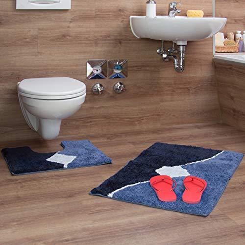 Relaxdays Badgarnitur 2-teilig mit Grafikmuster, Für Fußbodenheizung, Waschbar, Badematte und WC-Vorleger, Für Stand-WC, 80 x 50 cm, blau