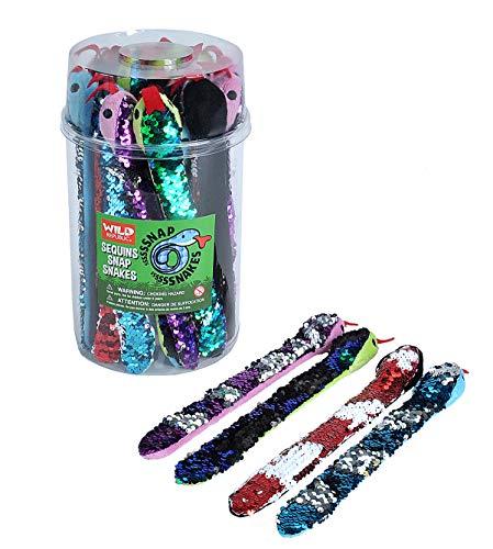Wild Republic Snake Snap Bracelets Bucket  Fake Snakes  Sensory Toys  Party Favors  Pet Snakes  24Piece