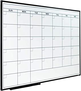 Lockways Dry Erase Calendar Whiteboard, Framed Magnetic Whiteboard Calendar 36 x 24 Inch, Ultra-Slim Black Aluminium Frame