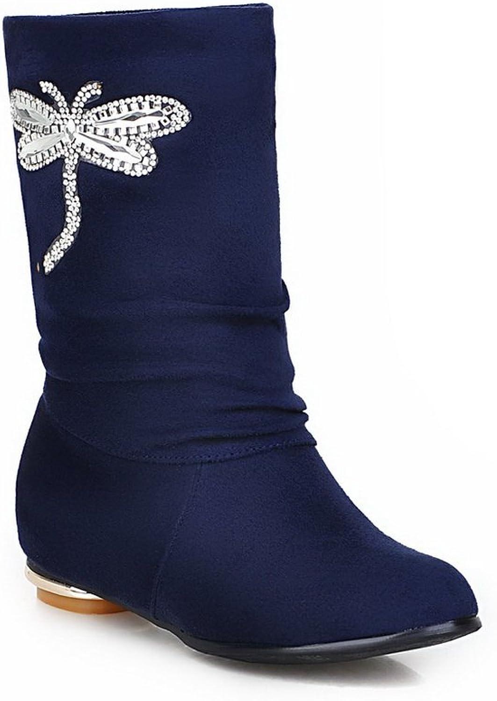 BalaMasa Womens Heighten Inside Glass Diamond Spun gold Bowknot Frosted Boots