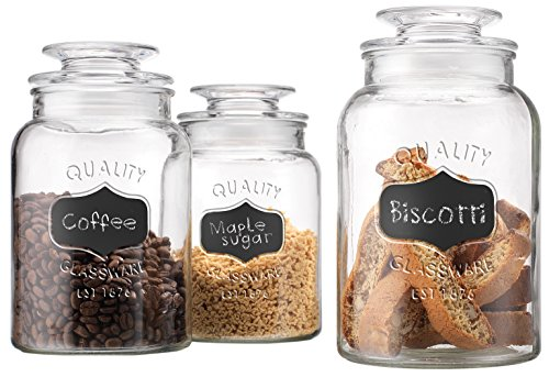 Glass Canister Set for Kitchen or Bathroom, Apothecary Glass Food Storage Jars with Airtight Lid and Chalkboard Labels - Set of 3 Cookie and Candy Jars, Storage Containers