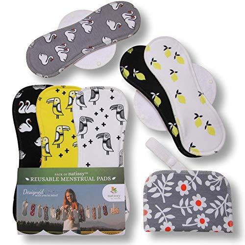 Compresas de tela reutilizables, pack de 6 compresas ecologicas de algodón puro con alas (de tamaños L y XL) HECHAS EN LA UE para menstruación, postparto, incontinencia; compresas lavables para mujer