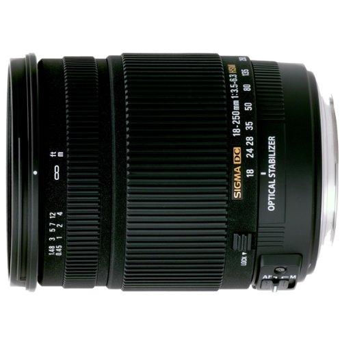 Sigma 18-250 mm F3,5-6,3 DC OS HSM Reise-Zoom-Objektiv (72 mm Filtergewinde) für Canon Objektivbajonett