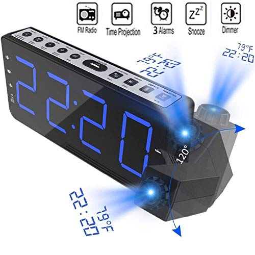 FCS Bedroom FM Radiowecker mit Projektion, Digitaler Wecker, FM Radiowecker Reacher mit 3-Alarm, Snooze, Großes LED-Display mit Dimmer (Color : Blue)