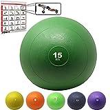 POWRX Slam Ball Balón Medicinal 15 kg - Ideal para Ejercicios de »Functional Fitness«, fortalecimiento y tonificación Muscular - Contenido de Arena y Efecto Anti-Rebote + PDF Workout (Verde)