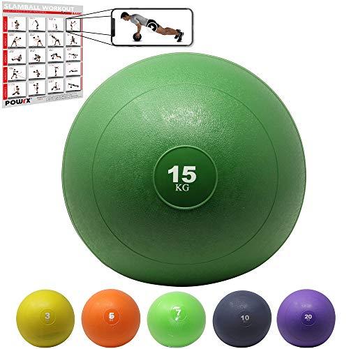 POWRX Slam Ball Medicine Ball 3-20 kg - Idéal pour Les Exercices »Fitness Fonctionnel«, Renforcement Musculaire et tonification - Teneur en Sable (15 kg/Vert)