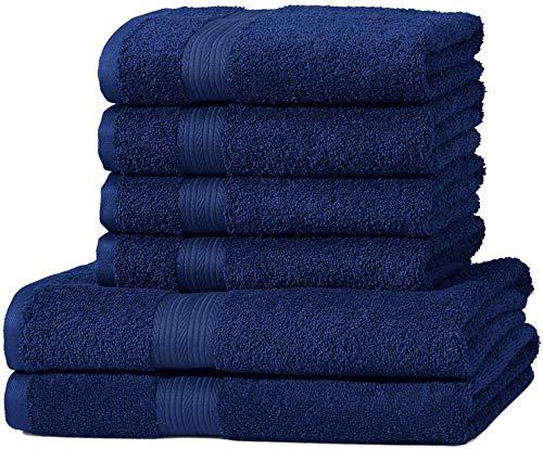AmazonBasics Handtuch-Set, ausbleichsicher, 2 Badetücher und 4 Handtücher, Königsblau, 100% Baumwolle 500g/m²