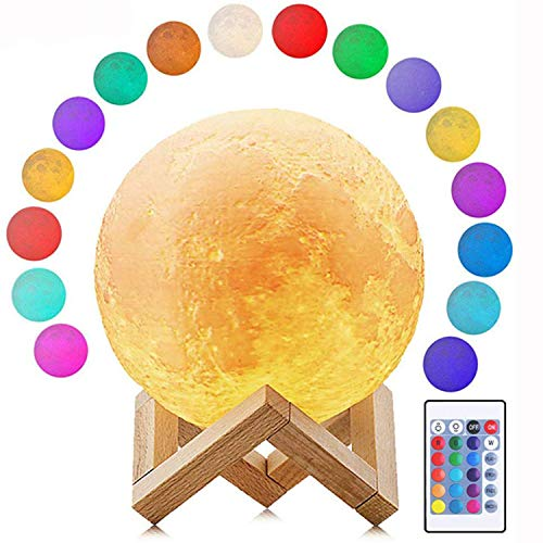 Deewin Moon Light 16 Colors Dimmable LED Change by Touch & Remote Control USB Charging Moon Lamp with Wooden Stand for Lover Kids (Diameter:3.5inch)