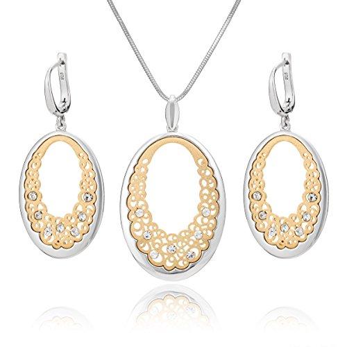LillyMarie Damen Silber-Schmuckset Silber 925 Anhänger Oval Gold Plattiert Swarovski Elements Längen-verstellbar Geschenkverpackung Schöne Geschenke für Frauen