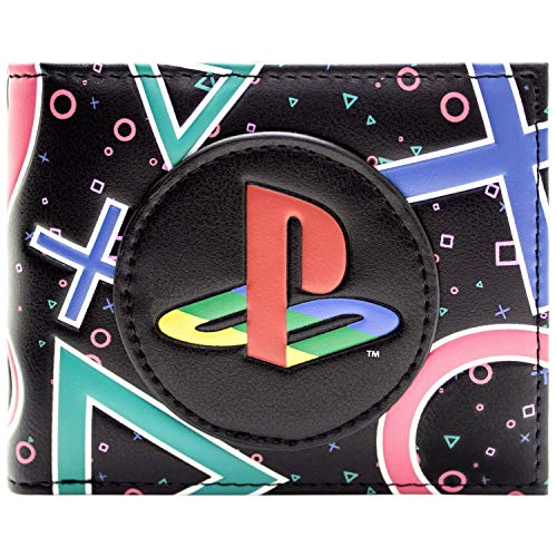 Playstation Bunte Symbole & Logo Schwarz Portemonnaie Geldbörse