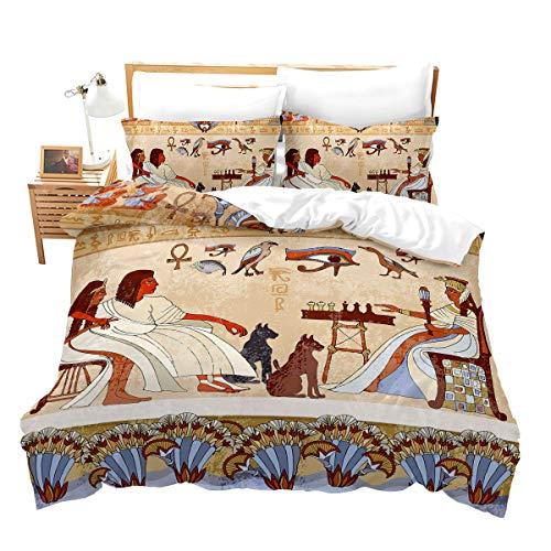 Loussiesd Alte Zeiten Muster 2 Teilig 155x220 cm Bettwäsche Set Ägypten Tier Exotisch Microfaser Bettbezug Set für Kinder Jungen Mädchen Himmel Qualität Betten Set mit 1 Kissenbezug 80x80 cm