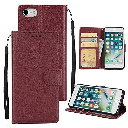 SZCINSEN Funda tipo cartera para iPhone 7G 8G, piel sintética premium, con correa para la muñeca, con bolsillos para tarjetas de crédito y identificación (color rojo vino)