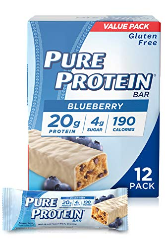 Pure Protein Bars, High Protein, Nutritious Snacks to Support Energy, Low Sugar, Gluten Free, Blueberry Greek Yogurt, 1.76 oz, Pack of 12