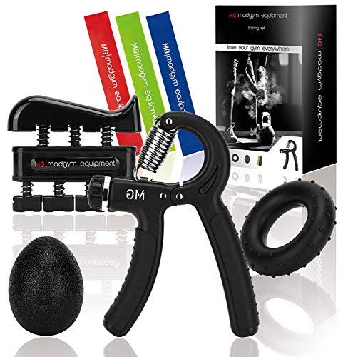 MadGym Equipment Handtrainer - Unterarmtrainer, Silikon-Greifring, Handtrainer, Fingerdehner, Therapieball - Für Unterarme, Handgelenke & Finger, Verletzungen vermeiden, Muskeln aufbauen - 5er-Set
