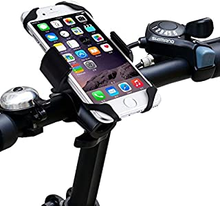 Impfunical Bike Phone Mount Bicycle Holder, Adjustable Cell Phone Holder for Bike, Cell Phone Mount for Bike Handlebars for Any Smart Phone iPhone 8 Plus X Note 9 Black