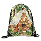 Sacs de Sport Sacs à Cordon, Men's Women's Gingerbread House Leather Reinforced Corners Removable Waterproof String Hiking Team Issue Pack Gymbag Gym Drawstring Bags Sackpack Gift Fashion