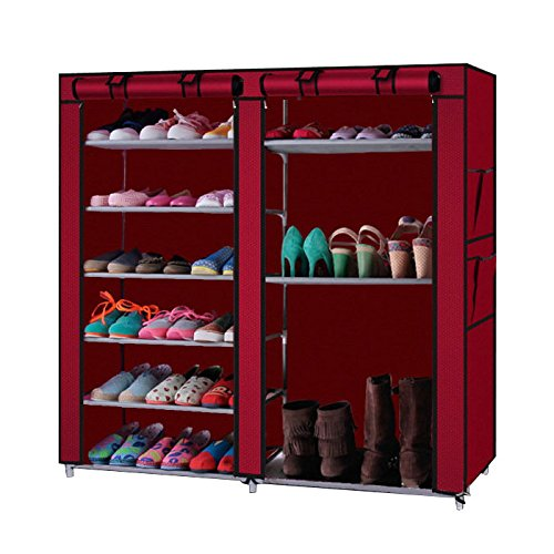Large Capacity Best Choice Double Rows 9 Lattices Combination Style Shoe Cabinet (Red)