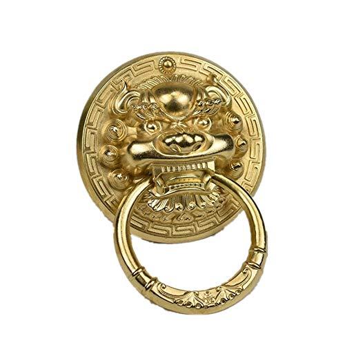 Türgriff Reines Kupfer Tier Kopf Türklopfer Holztür Pull Ring-Dekoration Küchengriff Möbelknopf Kleiderschrank (Color : Brass, Size : 20cm)