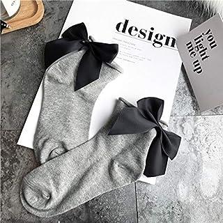 CYMTZ, 5 Pares/Paquete De Calcetines De Lazo De Color Caramelo Encantadores para Mujer Calcetines Cortos Casuales De Contraste De Color Calcetines Bonitos con Nudo De Lazo para Mujer